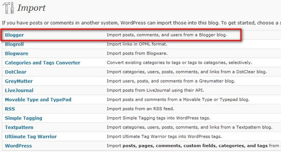 Import Blogger content to WordPress