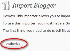 Authorize wordpress to access your blogger content